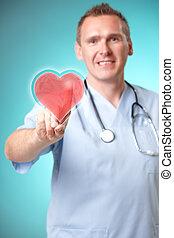 medicina, doctor, con, holographic, corazón