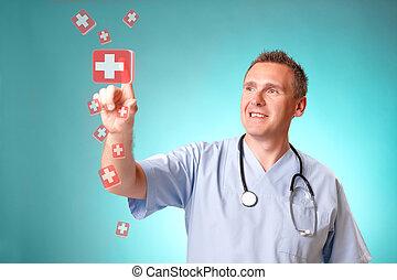 medicina, doctor, con, holographic, tabletes