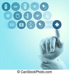 medicina, doctor, mano, trabajando, con, moderno, computadora, interfaz
