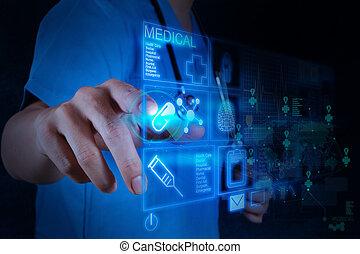 medicina, doctor, trabajando, con, moderno, computadora, interfaz