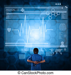 medicina, doctor, trabajando, con, moderno, computadora