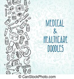 medicina, doodle, fundo