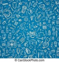 medicina, doodle, seamless, fundo