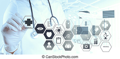 medicina, dottore, mano, lavorativo, con, moderno, computer,...