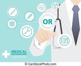 medicina, doutor, trabalhando, com, modernos, virtual, tecnologia, mão, tocar, interface, como, conceito médico, sala