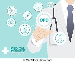 medicina, doutor, trabalhando, com, modernos, virtual, tecnologia, mão, tocar, interface, como, conceito médico, departamento