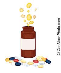 medicina, drogas, -, caro