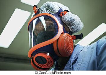 medicina, e, ciência, e, farmacêutico, laboratório, com, cientista, máscara desgastando, e, olhando câmera