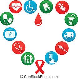 medicina, elementi, fondo, icone