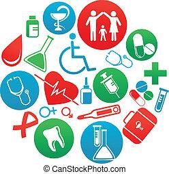 medicina, elementos, fundo, ícones
