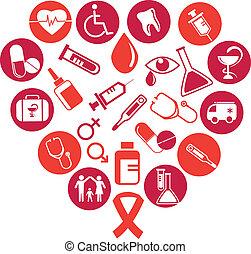 medicina, elementos, plano de fondo, iconos