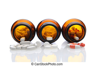 medicina embotella, con, píldoras, se derramar, afuera