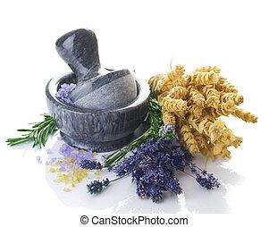 medicina, ervas, concept., herbário, morteiro