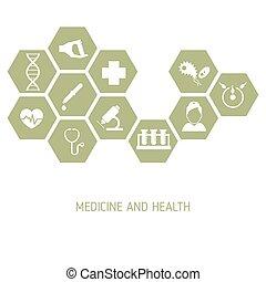 medicina, fondo, icone