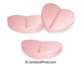 medicina, forma corazón