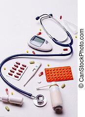 medicina fría, termómetro, phonendoscope