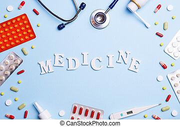 medicina fría, termómetro, phonendoscope, y, palabra, medicina