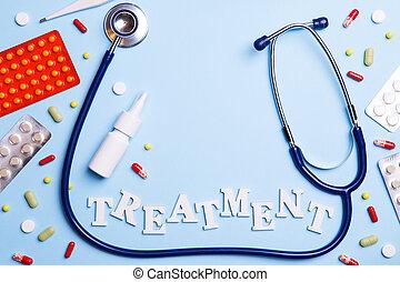 medicina fría, termómetro, phonendoscope, y, palabra, tratamiento