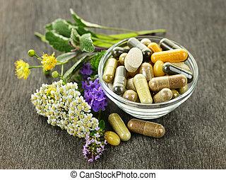 medicina herbácea, e, ervas