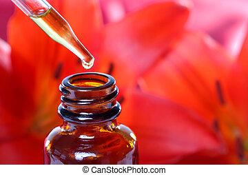 medicina, herbário, flores, conta-gotas, garrafa