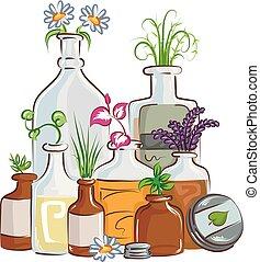 medicina herbaria, botellas, ilustración