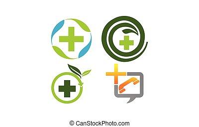 medicina herbaria, conjunto, plantilla