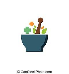 medicina herbaria, plantilla, logotipo