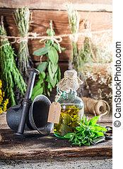 medicina, hierbas, botellas, natural, terapéutico