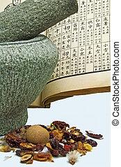 medicina hierbas china, con, mortero
