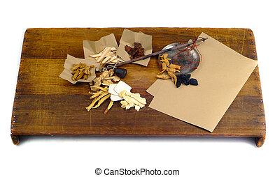 medicina hierbas china, en, madera, plano de fondo