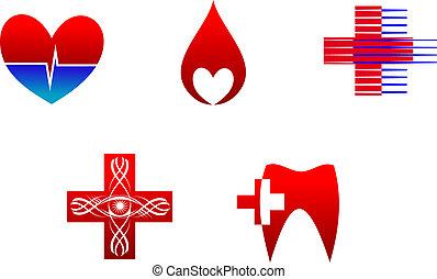 medicina, icone, segni