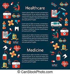 medicina, infographic, sagoma, sanità