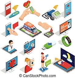 medicina, isometric, jogo, digital, ícones