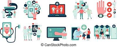 medicina, jogo, digital, ícones
