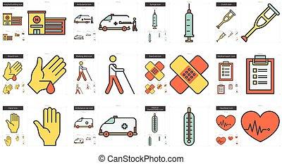 medicina, línea, icono, set.