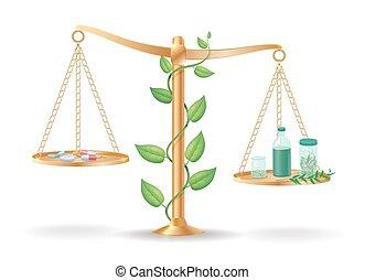 medicina, libra, alternativa, balance, concepto
