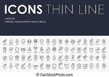 medicina, linha, magra, ícones