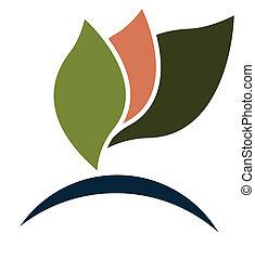 medicina, logotipo, alternativa, leafs