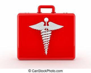 medicina, médico, mala, sinal