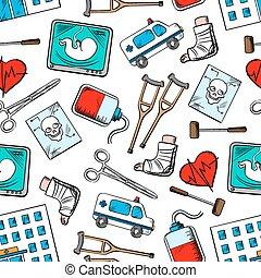 medicina, médico,  seamless, fundo, ícones