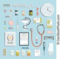 medicina, medicamento, objetos, colección