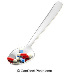 medicina, metall, porzione, cucchiaio, isolato