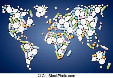 medicina, mundial, píldoras