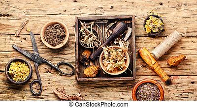 medicina natural, ervas, e, planta