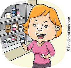 medicina, niña, cheque, gabinete
