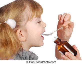 medicina, niña, toma