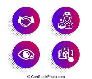 medicina, olho, augmented, enfermeira, miopia, pílula, realidade, set., vetorial, ícones, vision., negócio, mão, sinal., aperto mão