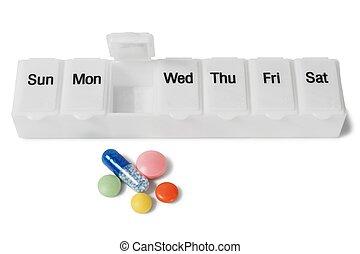 medicina, organizador, blanco