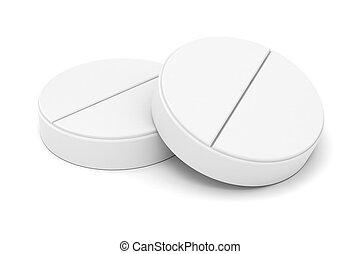 medicina, píldora blanca, plano de fondo, 3d