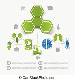 medicina, pegatina, infographic